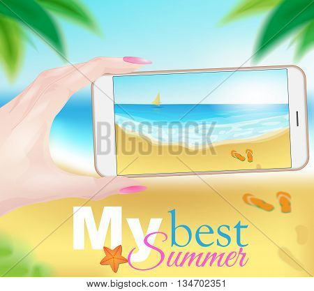 Summer beach photography with smart phone camera. Vector illustration.