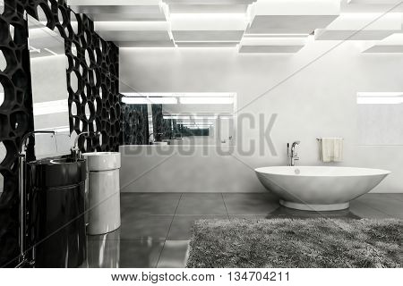 Contemporary bath room with white walls, grey rug and black honeycomb decor. 3d Rendering.