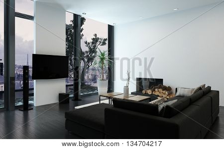 Luxury condo with contemporary couch and bare wall with fireplace by woodpile and floor to ceiling windows. 3d Rendering.
