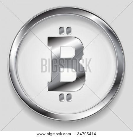 Crypto currency, metal icon bitcoin design. Internet virtual money bitcoin symbol