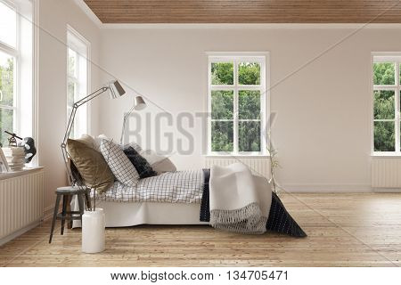 Modern light airy bedroom interior with windows on all sides and a comfortable divan style bed with stylish brown linen on a light hardwood floor. 3d Rendering.