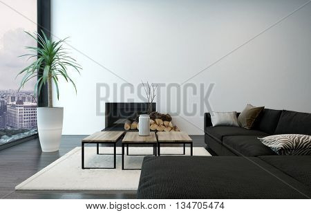 Spacious living room with modern furnishings and floor to ceiling window overlooking urban center. 3d Rendering.