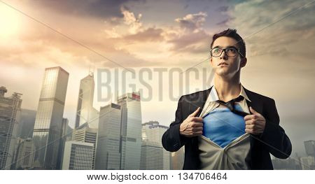 Superhero protecting the city