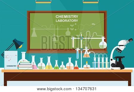 Chemical laboratory Science lesson with microscope technologyScience education chemistry experiment laboratory concept vector illustration.
