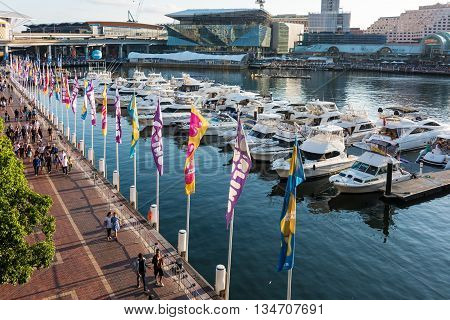Sydney Australia - 2016 Mar 26: Darling harbour Cockle bay wharf and Pyrmont with new Sydney Convention and Exhibition Centre. Darling Harbour is a waterfront entertainment area