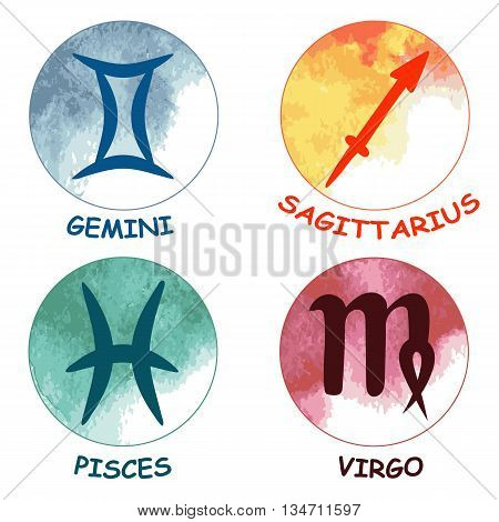 Zodiac signs. Zodiac icons. Set of round zodiac icons . Leo aquarius taurus scorpio. Vector illustration.