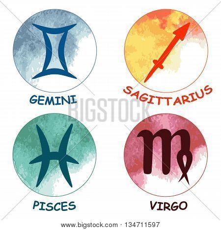 Zodiac signs. Zodiac icons. Set of round zodiac icons . Leo aquarius taurus scorpio. Vector illustration.
