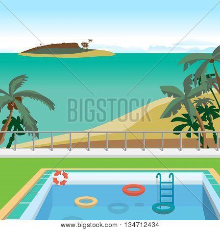 Outdoor swimming pool on the beach in the tropics. Sea landscape summer beach pool palms island. Vector cartoon flat illustration.