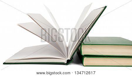 Open book, hardback books isolated on white background