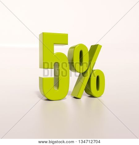 3d render: green 5 percent, percentage discount sign on white, 5%