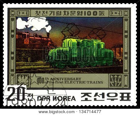 STAVROPOL RUSSIA - APRIL 29 2016: A Stamp printed in the DPR Korea shows Electric Train Centenary circa 1980