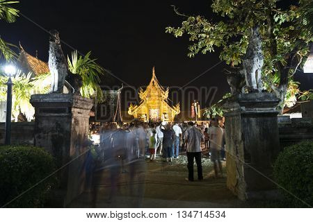 People Come To Pay Respect To Buddha Relic In Buddhist Temple