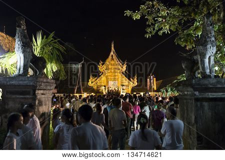 CHIANG MAI, THAILAND - JUNE 10: People come to pay respect to buddha relic at Tonkwen temple in Chiang Mai Thailand on June 10 2016.
