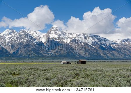 An old historic farm barn building  with the Grand Teton mountain range in the background in the Grand Teton National Park USA.