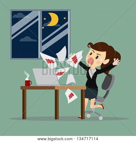 Businesswomen receive E-mail at midnight. Can used advertising idea.