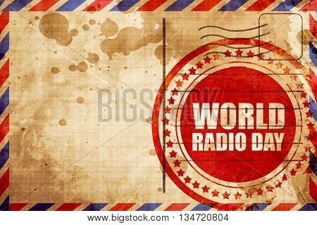 world radio day, red grunge stamp on an airmail background