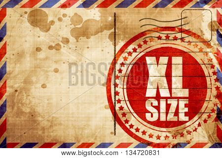 xl size, red grunge stamp on an airmail background