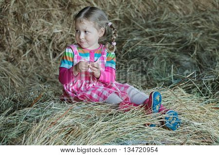 Little braided girl is wearing dress and gum boots sitting in country farm hayloft on dried loose grass hay