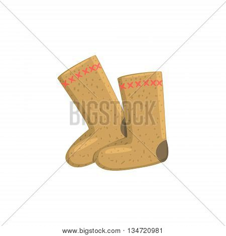 Russian Felt Boots Bright Color Detailed Cartoon Style Vector Illustration Isolated On White Background