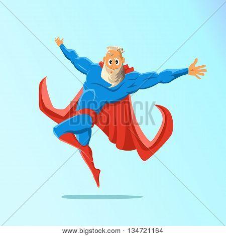 Old charismatic hipster Superhero. Superhero in action. Vector illustration
