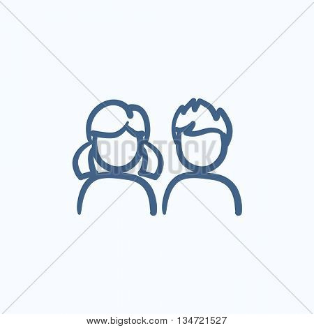 Girl and boy vector sketch icon isolated on background. Hand drawn Girl and boy icon. Girl and boy sketch icon for infographic, website or app.