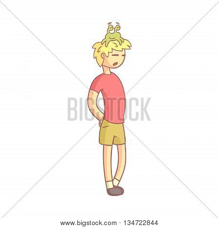 Blond Guy With The Soth Monster On The Head Flat Outlined Pale Color Funny Hand Drawn Vector Illustration Isolated On White Background poster