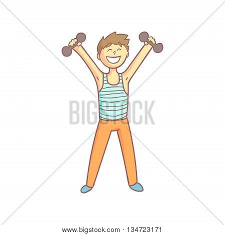 Guy Doing Athletic Exercises Smiling Flat Outlined Pale Color Funny Hand Drawn Vector Illustration Isolated On White Background