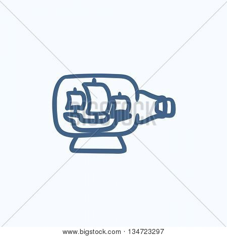 Ship inside bottle vector sketch icon isolated on background. Hand drawn Ship inside bottle icon. Ship inside bottle sketch icon for infographic, website or app.