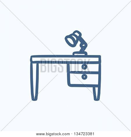 Desk lamp on table vector sketch icon isolated on background. Hand drawn Desk lamp on table icon. Desk lamp on table sketch icon for infographic, website or app.