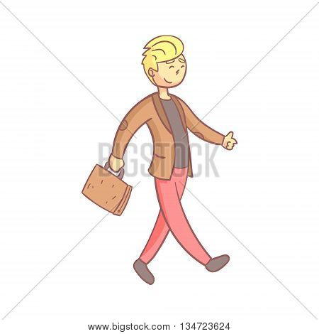 Guy In A Suit Walking To Work Flat Outlined Pale Color Funny Hand Drawn Vector Illustration Isolated On White Background