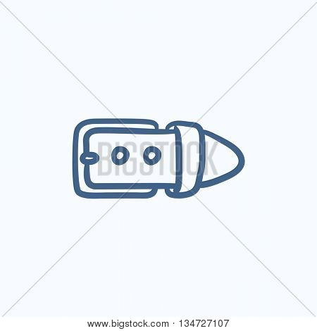 Belt buckle sketch icon for web, mobile and infographics. Hand drawn belt buckle icon. Belt buckle vector icon. Belt buckle icon isolated on white background.
