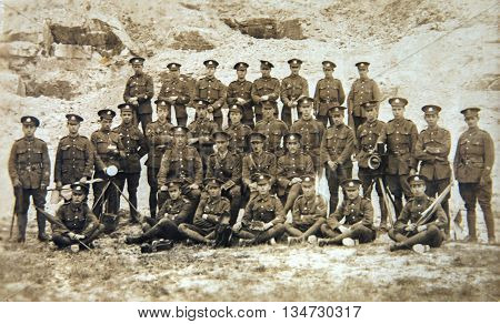 British regiment group photo 1940th. English vintage photo poster