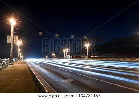 Blagoveshchensky (Leuteinant Schmidt) bridge in St.Petersburg Russia. Closeup night view from English embankment.