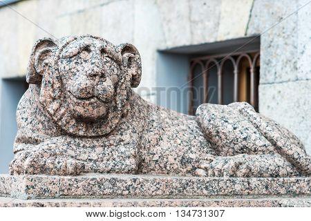 Stone Lion In St.petersburg