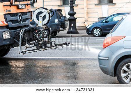 Street Sweeper In St.petersburg