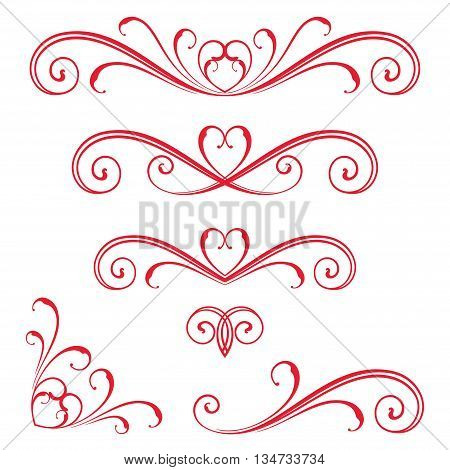 Red Vectorized Scroll Design with Heart Design.