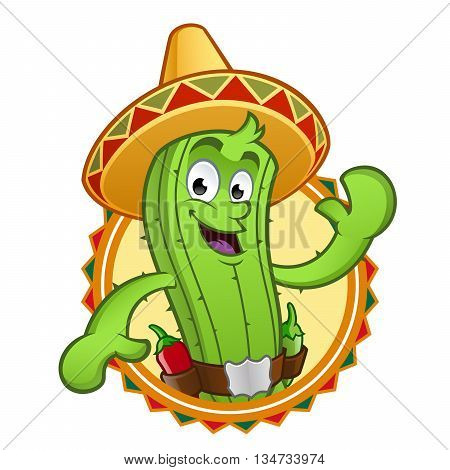 Sympathetic cactus, wearing a typical Mexican hat