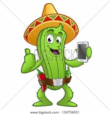 Sympathetic cactus with a mobile phone in her hand