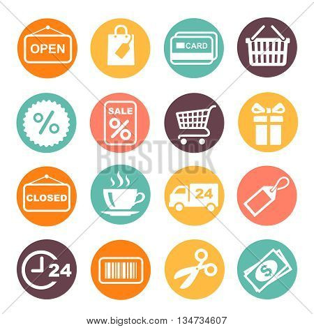 Shopping Icon and supermarket services colored buttons Set. Coffe, barcode, gift box, open, close