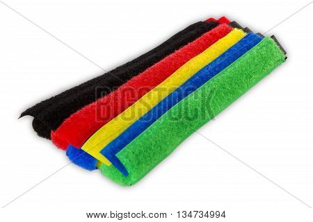 Colorful velcro stripes isolated on white background