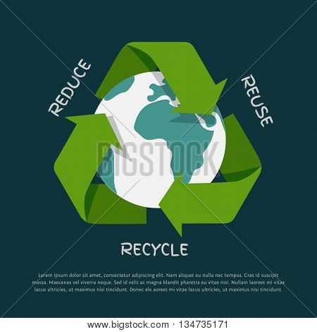 Vector flat Recycling arrows symbol with Earth globe inside isolated on dark background. Recycle icon, environment concept