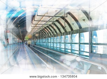 Long corridor with glass wall, business concept background