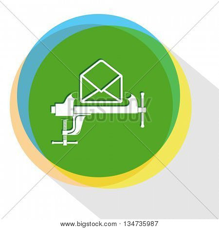 mail with clamp. Internet template. Vector icon.