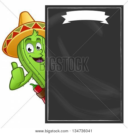 Sympathetic cactus with a blackboard for you to put your text