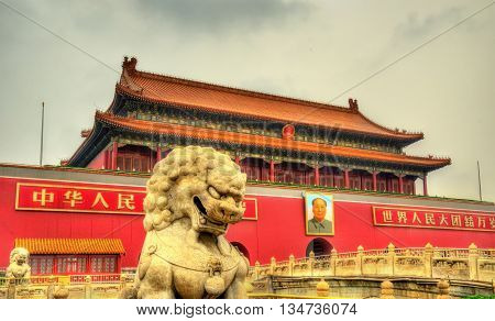 Beijing, China - May 14, 2016: Lion in front of the Tiananmen Gate. The monument is widely used as a national symbol.