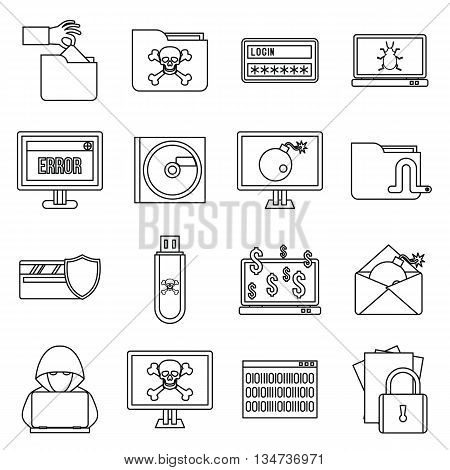 Criminal activity icons set in outline style isolated on white background