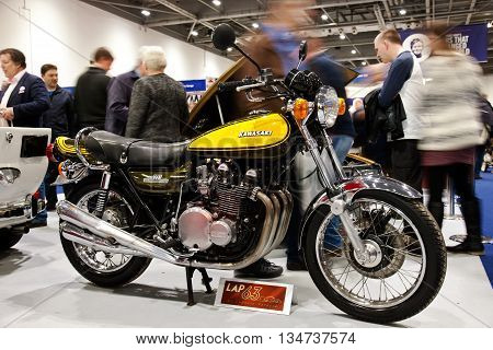 LONDON - JANUARY 10: A vintage Kawasaki Z900 sports tourer motorcycle stands on public display at the inaugural London Classic Car Show event held at the Excel arena on January 10, 2015 in London