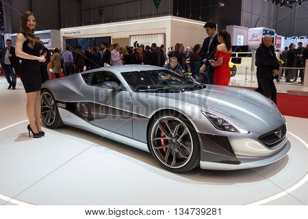 GENEVA SWITZERLAND - MARCH 2 2016: 1073HP Rimac Concept One Electric Supercar shown at the 86th International Geneva Motor Show in Palexpo Geneva.