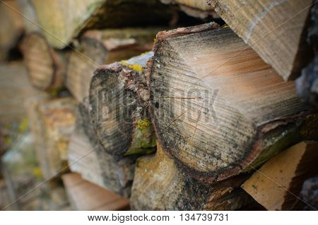 Natural Wooden Background - Closeup Of Chopped Firewood