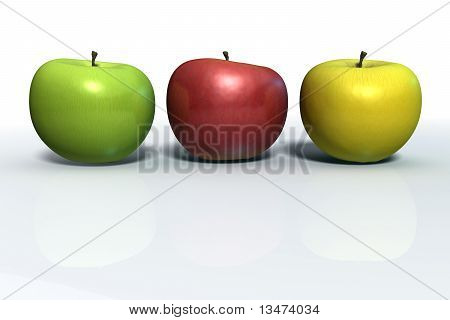 Three apples in line: green, red and yellow apples isolated on white